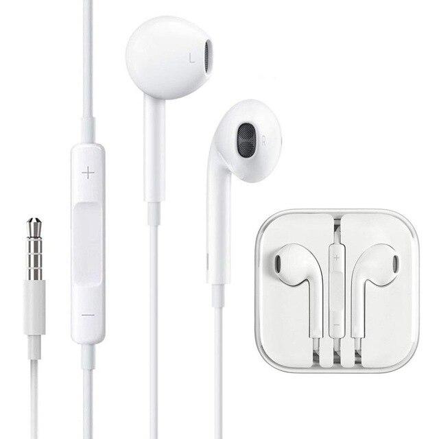 Стерео звук 3,5 мм разъем в ухо наушники для iPhone 6 6S Plus 5S 5 SE iPad Проводные управляемые наушники с микрофоном музыкальные наушники