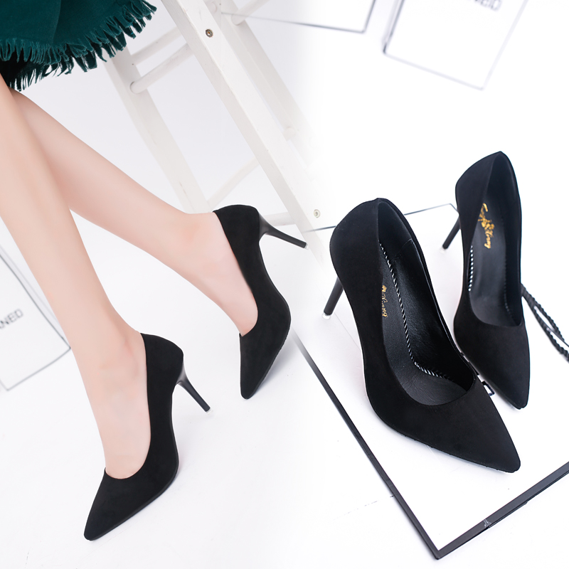 Fashion Women's Single Shoes 10cm Black Pointed Sexy High Heels Stiletto Shallow Mouth Professional Work Shoes Female Pumps