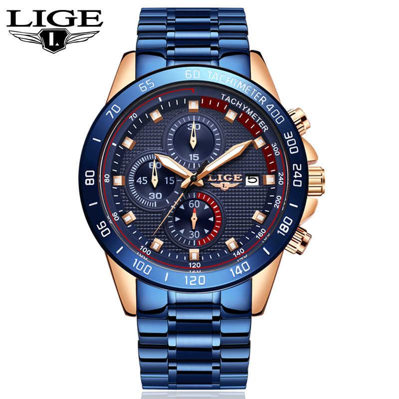 LIGE yeni İzle erkekler moda spor kuvars saat erkek saatler marka lüks takvim iş su geçirmez izle Relogio Masculino