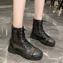 2020 Summer Breathable Mesh Boots Women Black Motorcycle Boot Comfy Pu Leather Platform Shoes Cowgirl Mid Calf Combat Boot Women vivodsicco new genuine patent leather men mid calf boot punk military combat men s leather desert biker motorcycle rock boots