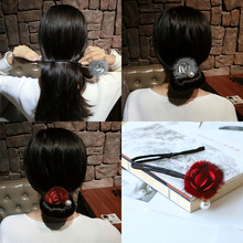 Maomao meatball head dish hair artifact Korea super fairy ornaments fluffy headgear to tie flower bud
