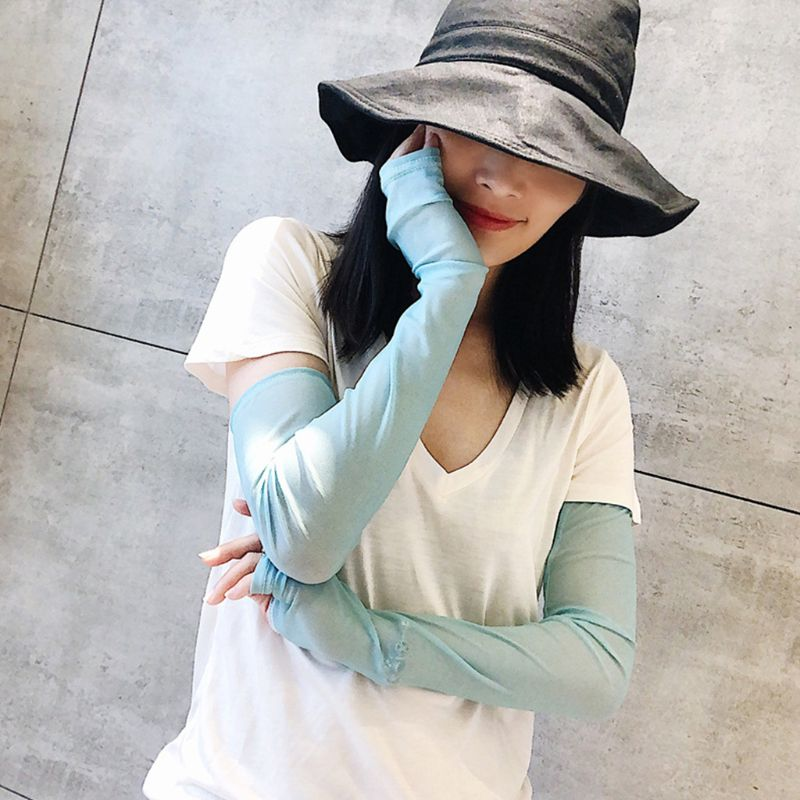 Women Summer Cooling Arm Sleeves Cover Sweet Solid Candy Color Outdoor Cycling Sun Protection Fingerless Gloves With Thumb Hole