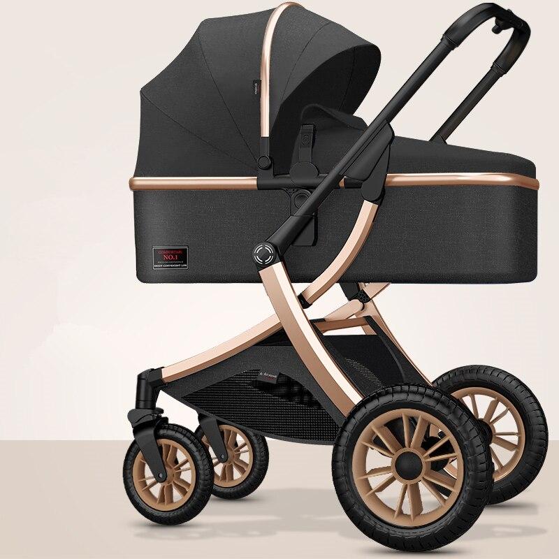 Hohe Landschaft Baby Kinderwagen 3 in 1 Baby Rollstuhl Tragbare Verstellbare Rosa Kinderwagen Reise Kinderwagen Kinderwagen mit Viele Kostenloser Geschenke