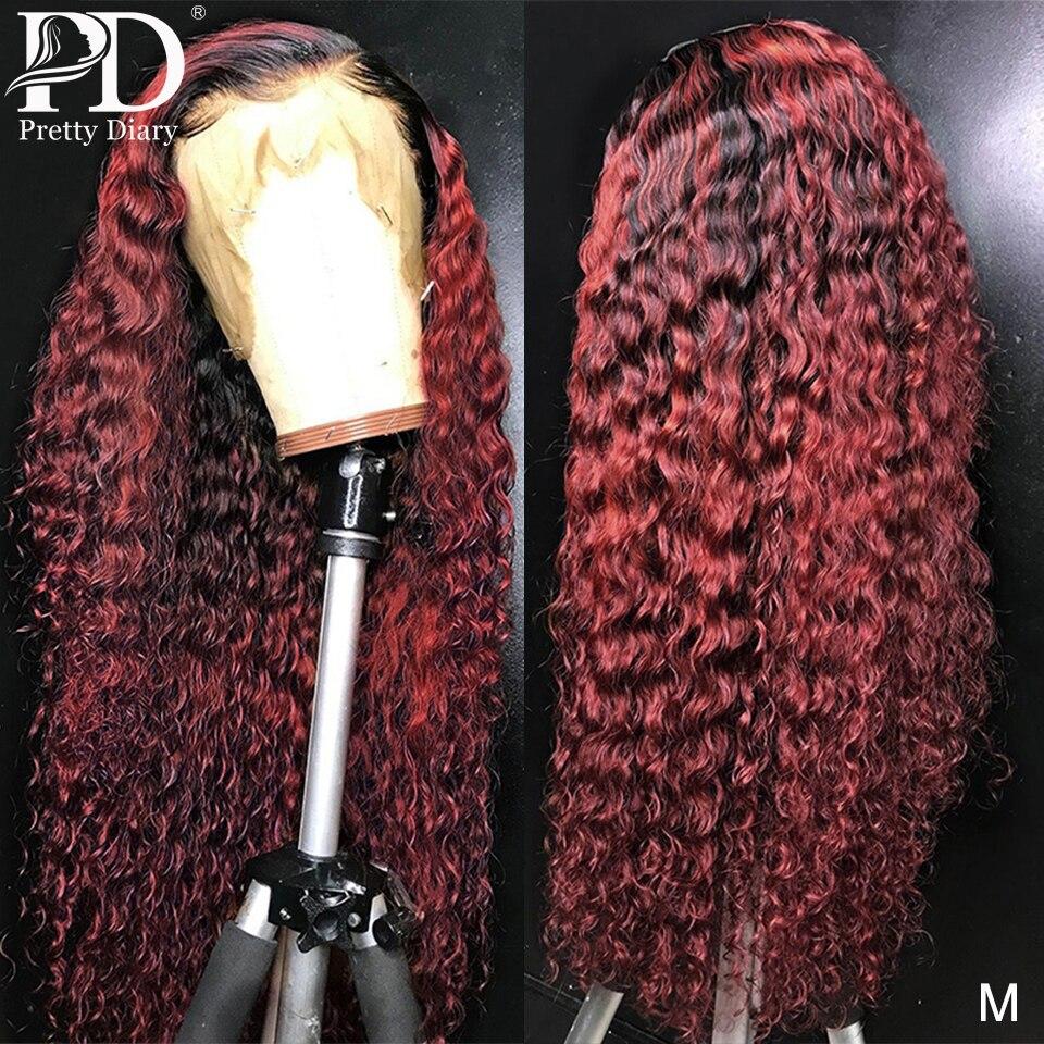 13x4 glueless onda profunda borgonha perucas da parte dianteira do laço 1b 99j frente do laço perucas de cabelo humano encaracolado ombre vinho perucas vermelhas pré arrancadas cabelo