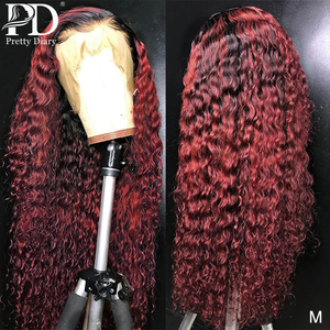 13x4 Glueless Deep Wave Burgundy Lace Front Wigs 1B 99J Lace Front Human Hair Wigs Curly Ombre Wine Red Wigs Pre Plucked Hair