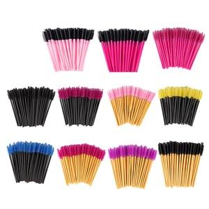 Image 1 - zwellbe 50Pcs Eyelash Eyebrow Makeup Brushes Disposable Mascara Wands Applicator Eyelash Extension Comb Beauty Cosmetic Tool