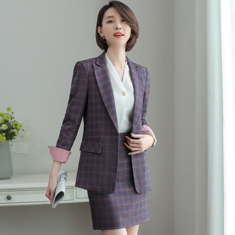 Autumn Professional Wear High Quality Temperament Slim Long Sleeve Plaid Suit Casual Skirt Suits Women's Trousers Two-piece 2019
