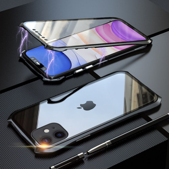 360 Full Protective Case For iphone 11 case Metal Magnetic Adsorption For iphone 11 pro max 2019 New Cases Cover Bumper Coque - For iPhone 11Pro Max, black 360