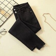 Irregular skinny jeans woman high waist ripped mom jeans for women plus size pockets black Ladies jeans denim jeans femme цена и фото