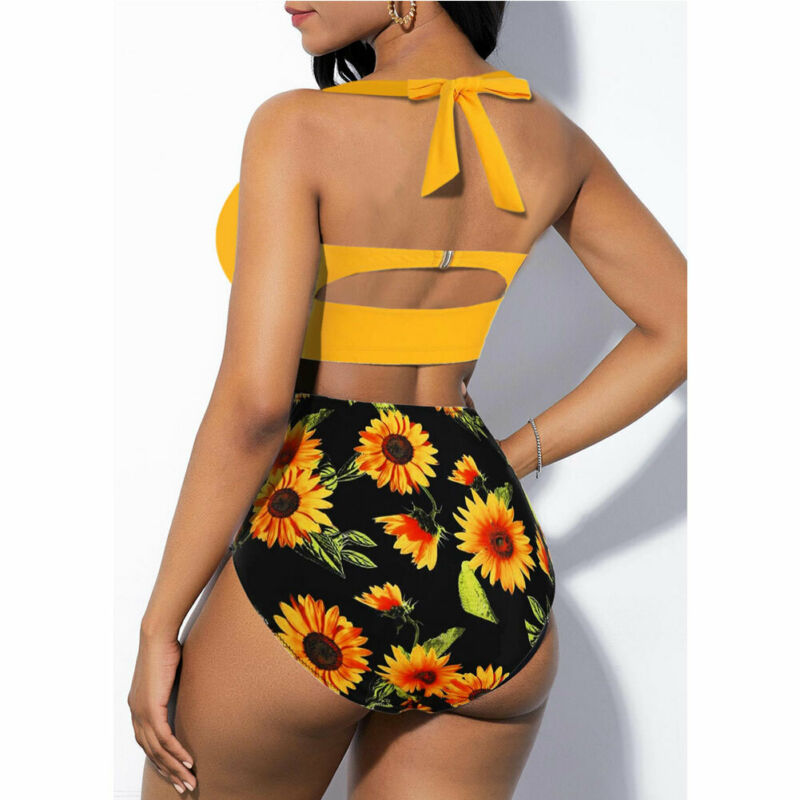 Hirigin Plus Size Women Flower Bikini Set 2020 New High Waist Push Up Swimwear Padded Bathing Suit Swimming Suit Summer 5