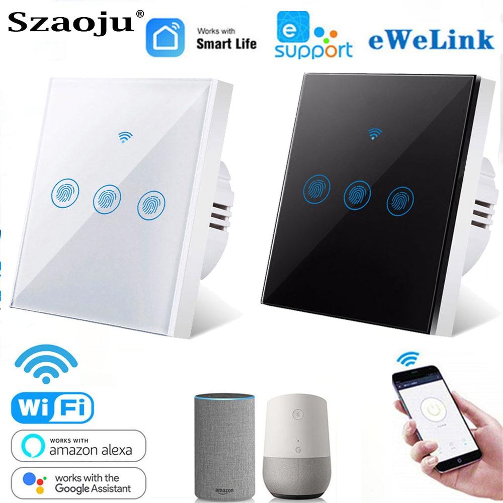Szaoju 1/2/3 Gang Wifi Wall Touch Switch EU Standard 220V Smart Light Switch Smart Life Ewelink For Alexa Google Home Assistant