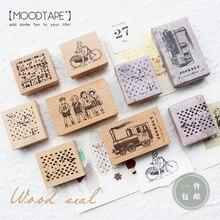 moodtape vintage wood clear stamp for DIY scrapbooking/photo album Decorative stamp vegetation plant rubber stamp seal