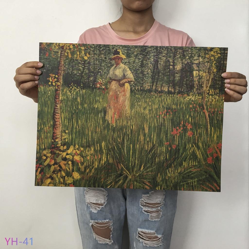 Плакат маслом Ван Гога Мона, Винтажный Классический крафт-бумага, плакат, живопись, наклейки на стену, домашний декоративный YH-31-42 - Цвет: YH-41
