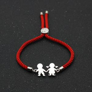 Cute Bear Stainless Steel Boys Girls Charm Bracelet Lucky Red Thread Rope Strings Simple Adjustable Couples Bracelets For Women(China)