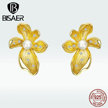 BISAER 925 Sterling Silver Stud Earrings Gold Color Jewelry Gifts for Women Earrings HVE249 недорого