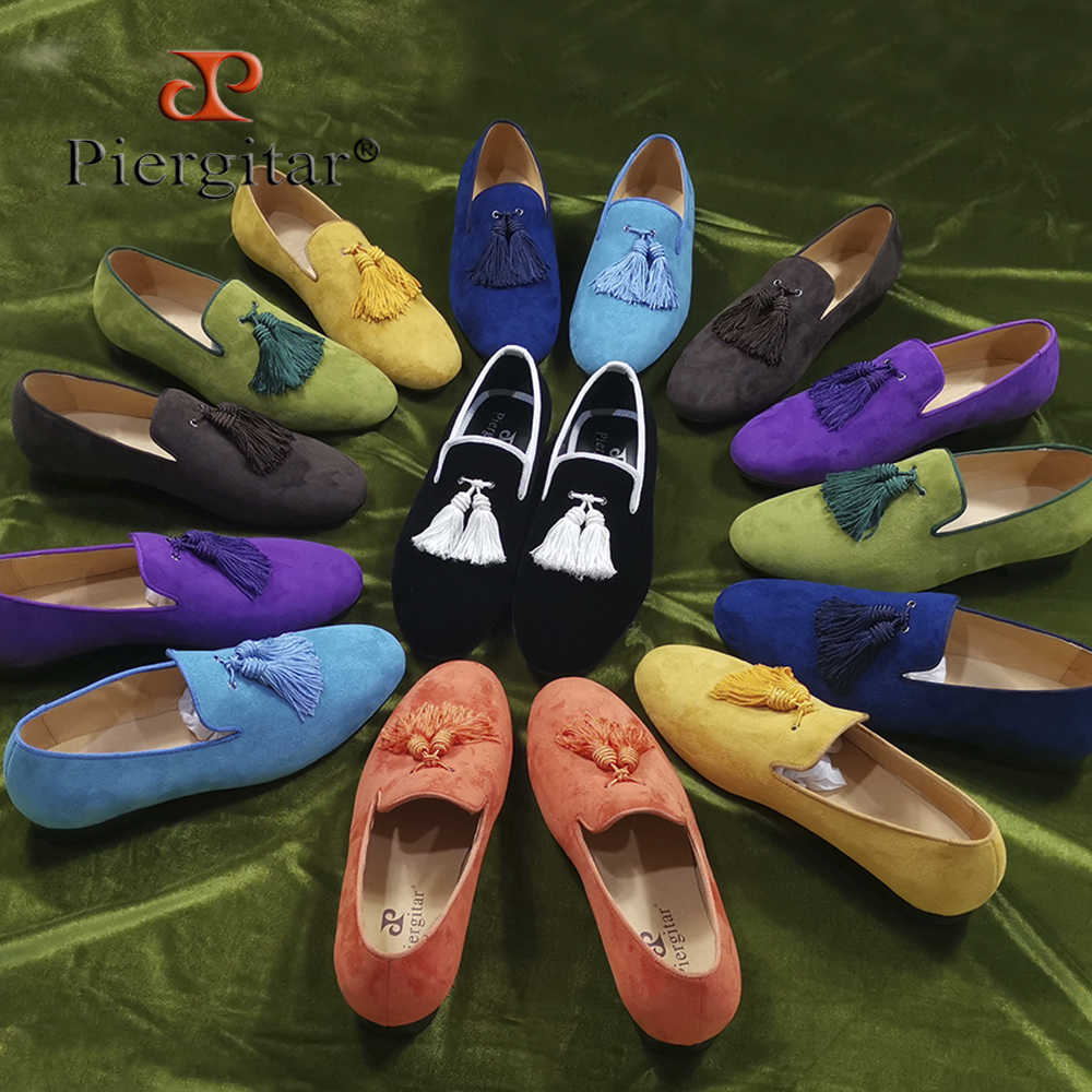 Piergitar 2019 Colorful matching tassel men suede shoes Party and Wedding Men's loafers handmade men smoking slippers plus size