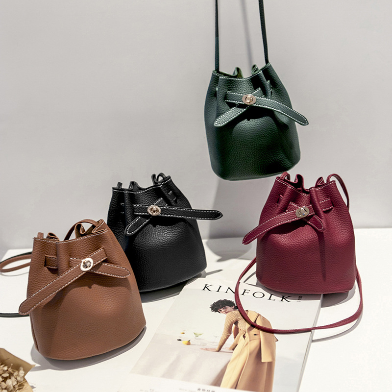New Simple Bucket Bags For Women 2019 Luxury Handbags Women PU Lychee Small Shoulder Crossboby Bag Fashion Solid Bolsa Feminina