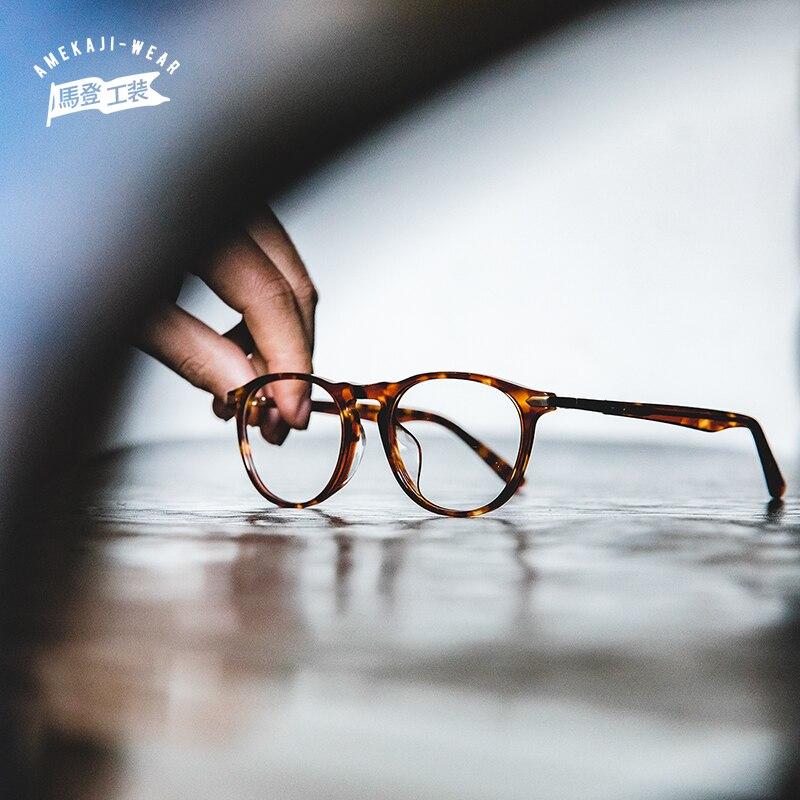 Maden Transparent Round Eyeglasses Plastic Men Spectacle Glasses Nerd Men Optical Glasses Frame Optical Clear Lens Fashionable