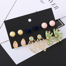 6 Pairs/Set Fashion Gold Leaf Stud Earrings For Women Green Rhinestone Earring Girl Round Ball Pompon Earrings Set Mixed Jewelry leaf design earring set with rhinestone