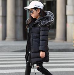 Зимние пальто для девочек Новинка 2019 года, пуховая парка с капюшоном и воротником из искусственного меха детская утепленная верхняя одежда ...