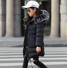 цена на Girls Winter Coats 2019 new Faux Fur Collar Hooded Down Parka Children Girls Thicken Warm Outwear Kids Jackets & Coats