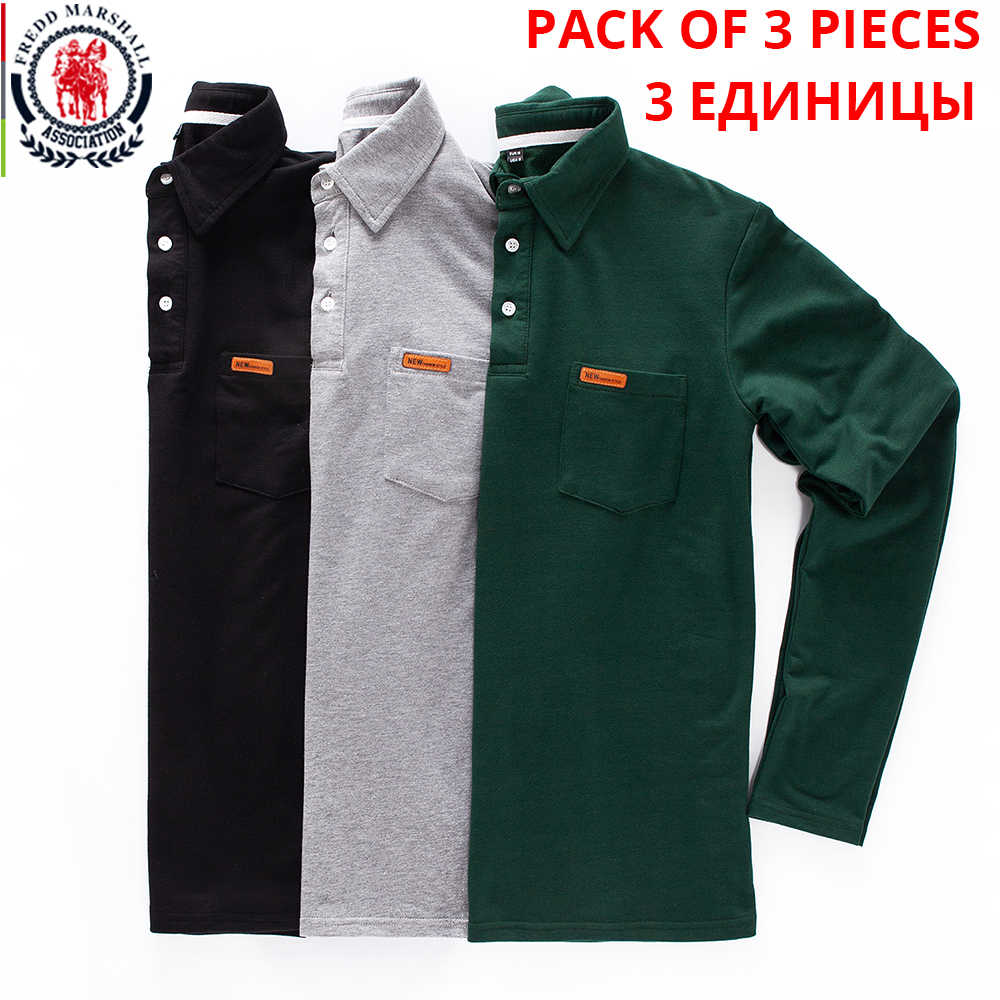 Fredd Marshall 3-Pack 100% Cotton Polo Shirt Pria 2019 Lengan Panjang Klasik Dasar POLO Kemeja Bisnis Kasual Atasan plus Ukuran M-3XL