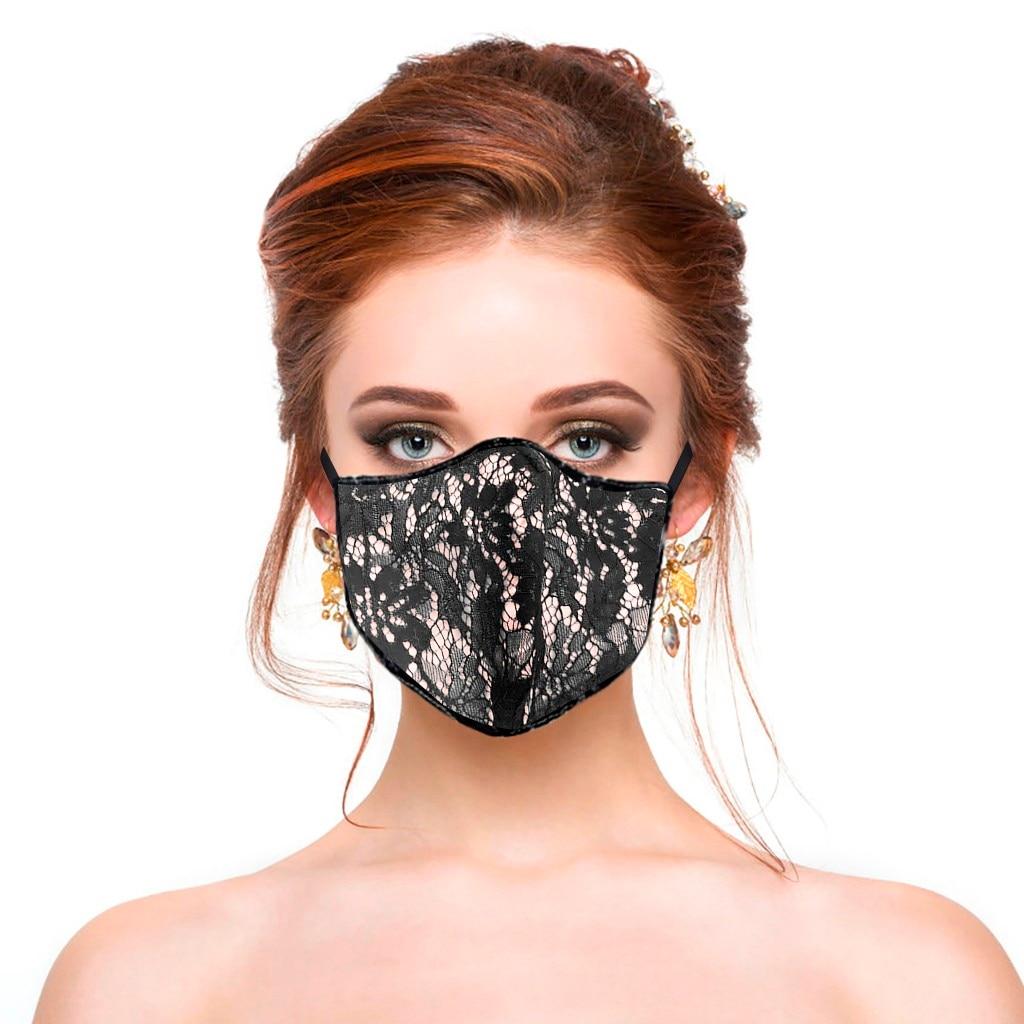Модная женская цветочная кружевная маска дышащая ткань маска для лица моющаяся многоразовая маска для рта Masken Waschbar Mascarillas De Tela