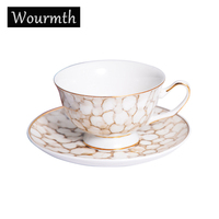 Wourmth European New Bone China Coffee Cups And Saucer Set Hand painted Phnom Penh Luxury afternoon Teacup Porcelain Drinkware