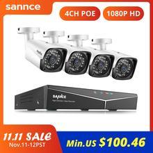 SANNCE 4CH HD 1080P XPOE CCTV NVR sistemi 4 adet 2M IP kameralar açık hava koşullarına dayanıklı ev Video güvenlik gözetim kameraları sistemi