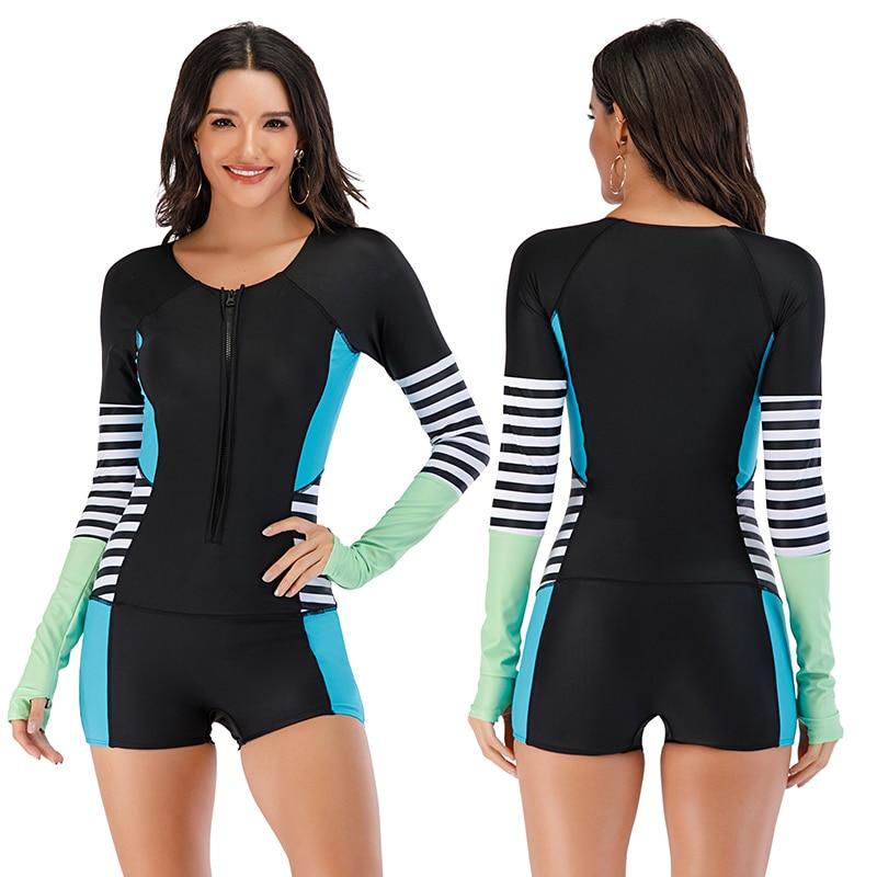 Mesh Front Long Sleeve Swimwear Sport Surfing Swimming Suit 21