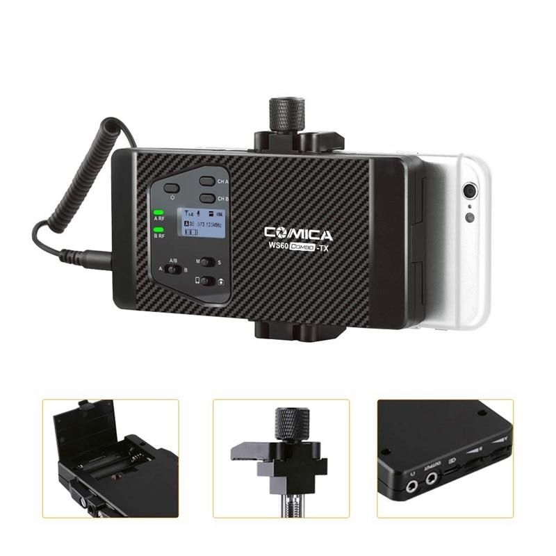 Comica Cvm Ws60 Mini Drahtlose Mikrofon System (Zwei Sender Ein Empfänger) für Smartphones und Kameras, uhf 12 Kanäle 60 M - 3