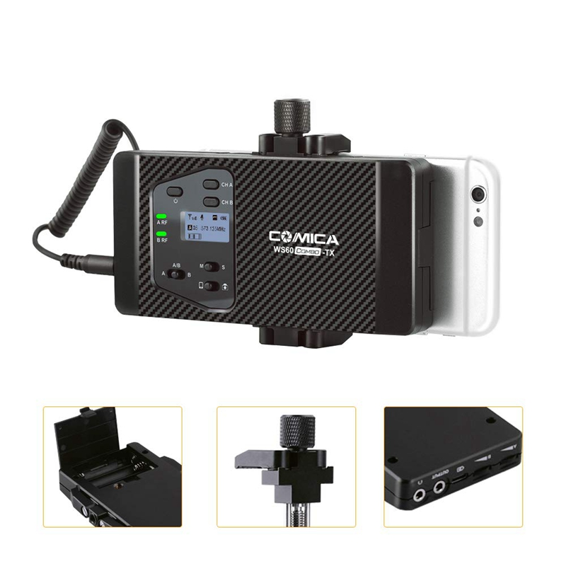 Comica Cvm Ws60 Mini Sistema di Microfono Senza Fili (Due Trasmettitori di Un Ricevitore) per Smartphone e Telecamere, uhf 12 Canali 60 M - 3