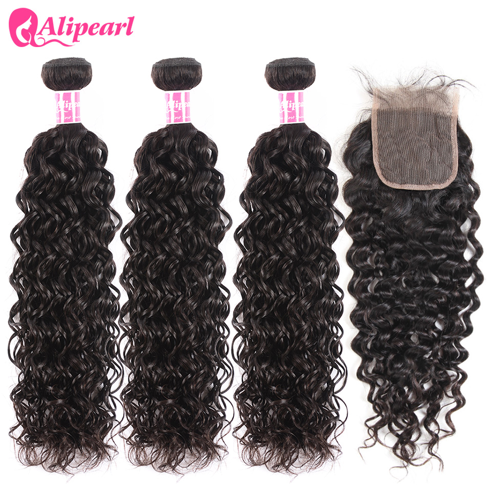 AliPearl Hair 100% Human Hair Water Wave Bundles With Closure Peruvian Hair Weave 3 Bundles Natural Color Remy Hair Extension