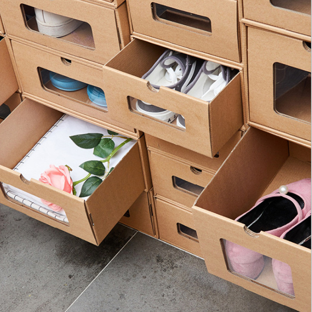 Thick Shoe Organizer Box made of Cardboard with Drawers 3