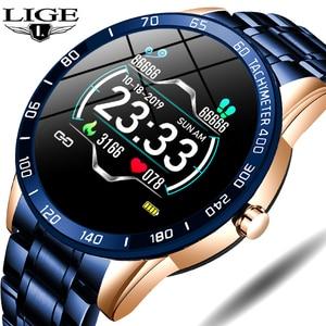LIGE Steel Band Digital Watch Men Heart Rate Blood Pressure Monitor Sport Multifunction Mode Fitness Tracker Waterproof watch