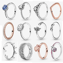 Original 100% 925 Sterling Silver Ring Love Heart CZ Rings Red Clear Crystal For Women Wedding Girlfriend Gift Jewelry 2021