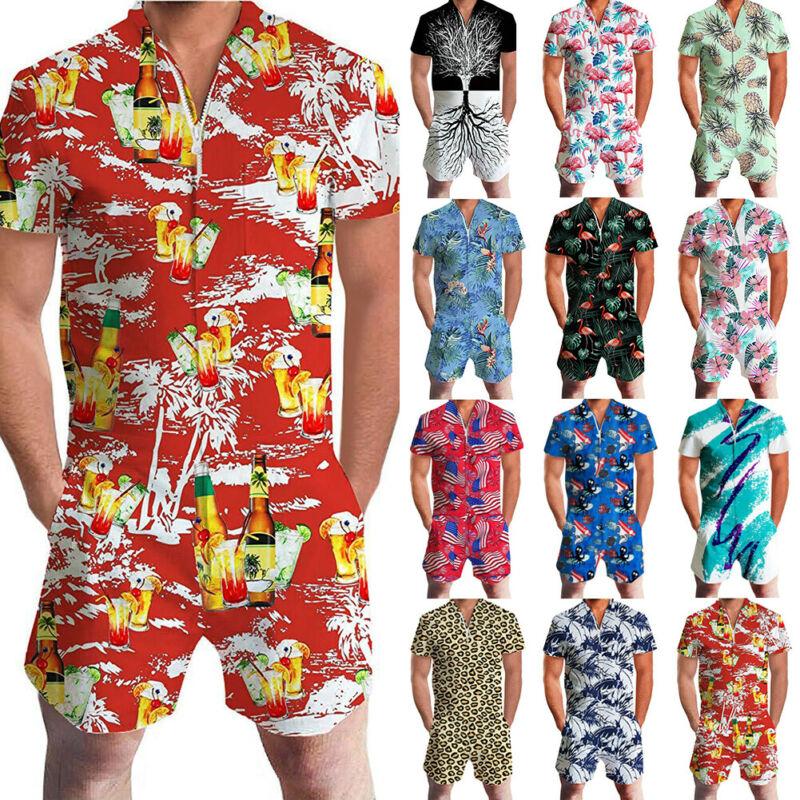 Hawaiian Siamese Men's Home Furnishing Mens 3D Print One Piece Jumpsuit Zip Short Sleeve Pants Rompers Overalls