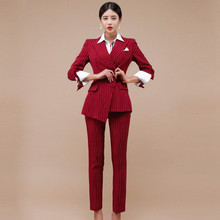 High Quality Office Ladies Autumn Winter 2 Piece Set Women Striped Red Notched I