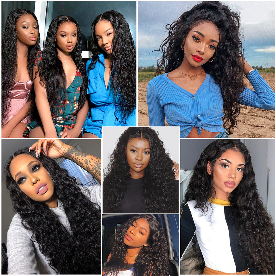 YYong 4x4 Lace Closure Wigs & 13x4 Lace Frontal Wig   Water Wave Lace Front  Wig Pre Plucked Hairline 5