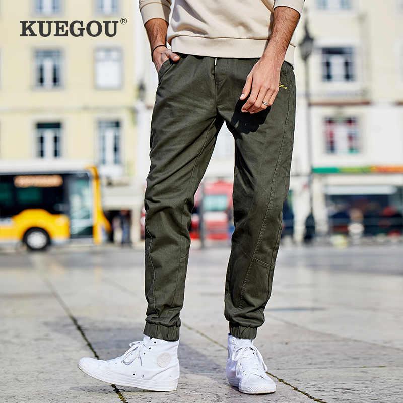 Kuegou Pantalones De Chandal Para Hombre Pantalon De Chandal Verde Militar Bordado De Algodon 100 Para Correr Estilo Hip Hop 2020 Pantalones Informales Aliexpress