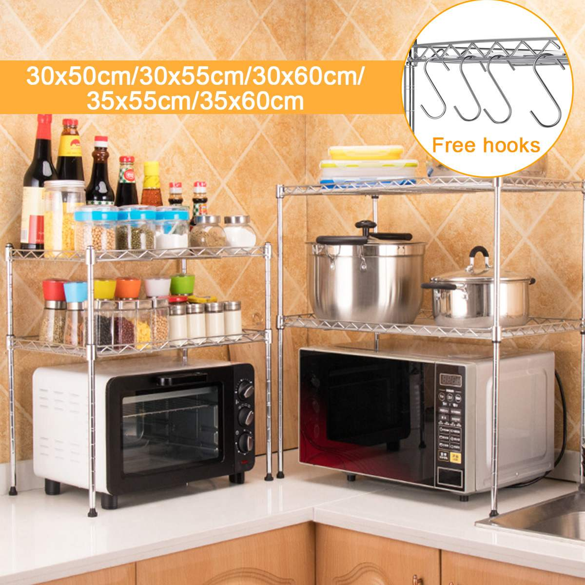 Stainless Steel Double-layer Large Capacity Microwave Oven Rack + Hook Kitchen Storage Holder Kitchen Appliances Storage