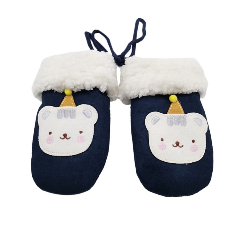 Cartoon Hanging Neck Children's Gloves Mittens Double Thick Knitting Warm Gloves Winter  Boys Girls Gloves