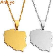 Anniyo polska mapa pingente colares para mulher jóias mapas de polónia corrente #021221