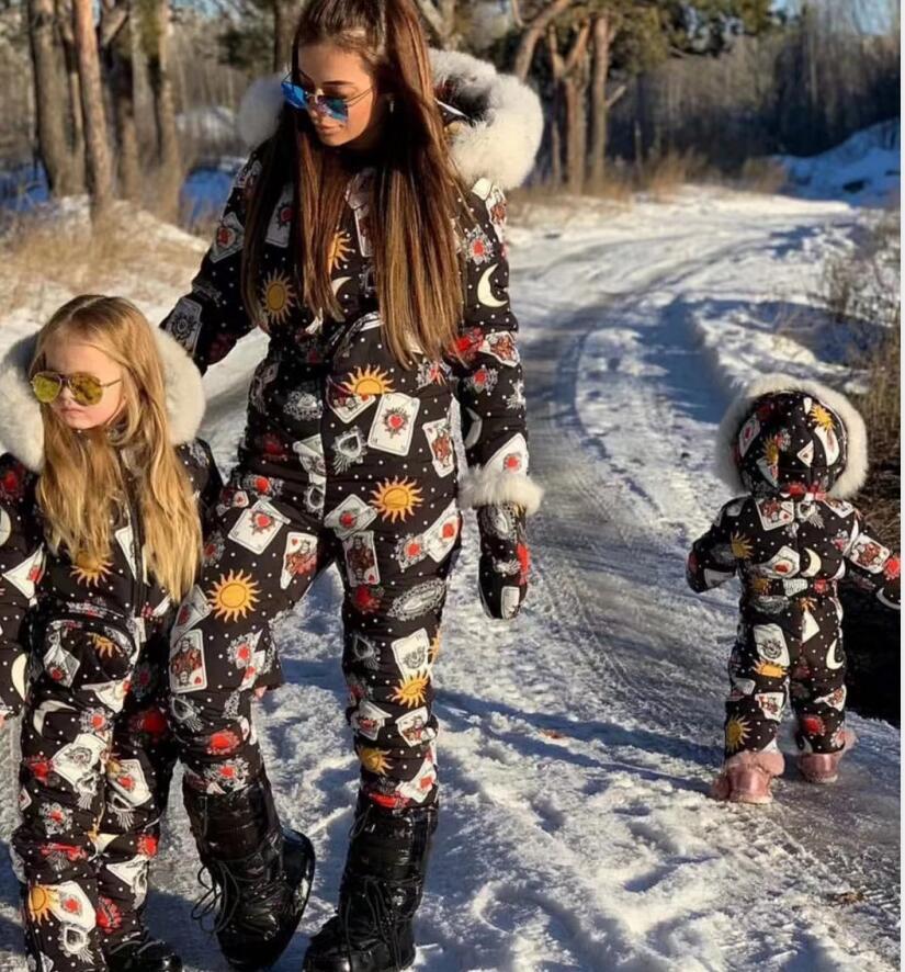 Super Real Fur 2019 Winter Jumpsuit Women White Duck Down Jackets Women's Ski Suit Down Jacket Outdoor Suit Outerwear Ski Suit