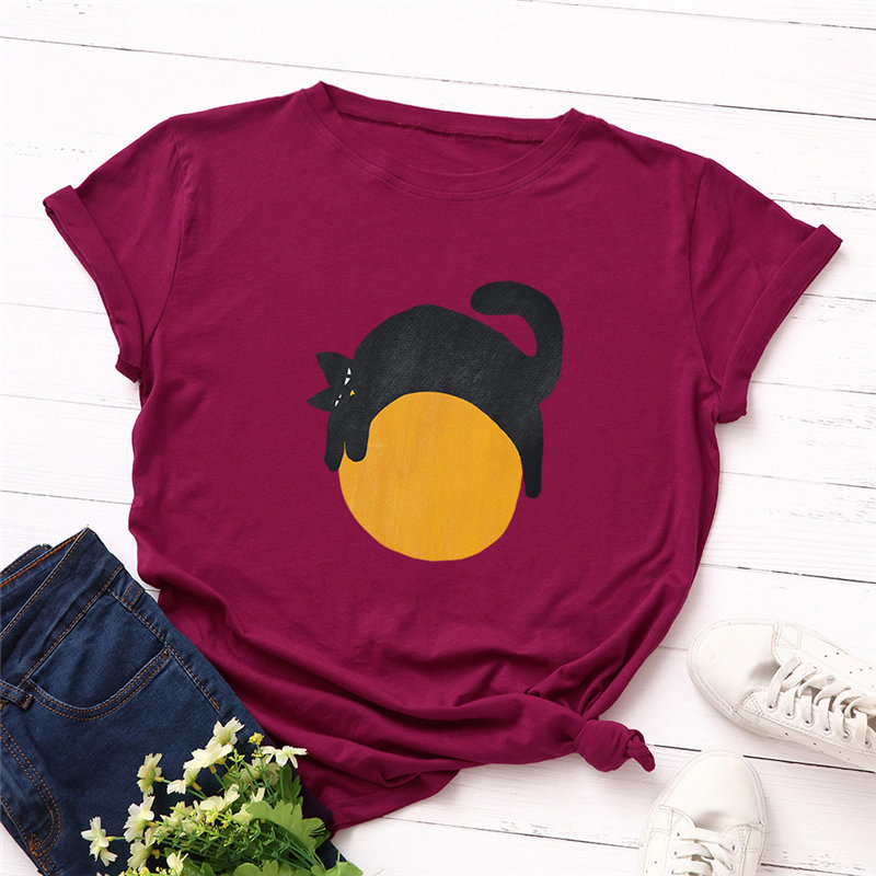Женская футболка из 100% хлопка с круглым вырезом, с принтом кота, повседневная женская футболка хорошего качества, летняя футболка, большие р...