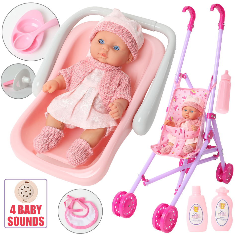 8 Inch DIY Lifelike Bebe Reborn Doll Newborn Trolley Bathtub Sound Doll 20cm Simulation Soft Silicone Education Lovely Toys