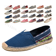 Linen Male Casual Shoes Loafers Mens Flats Weaving Fisherman