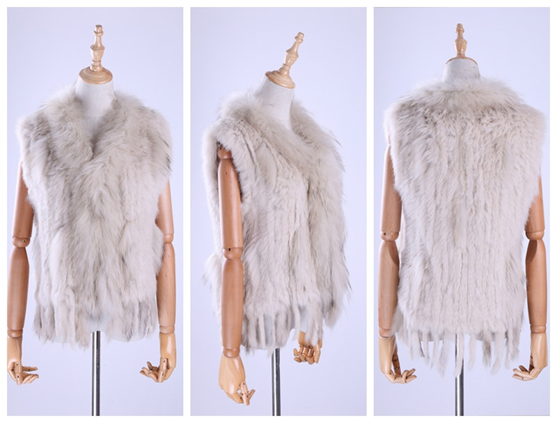 H62181c826b6c431a956f0aabfa83873d8 Brand New Women's Lady Genuine Real Knitted Rabbit Fur Vests tassels Raccoon Fur Trimming Collar Waistcoat Fur Sleeveless Gilet