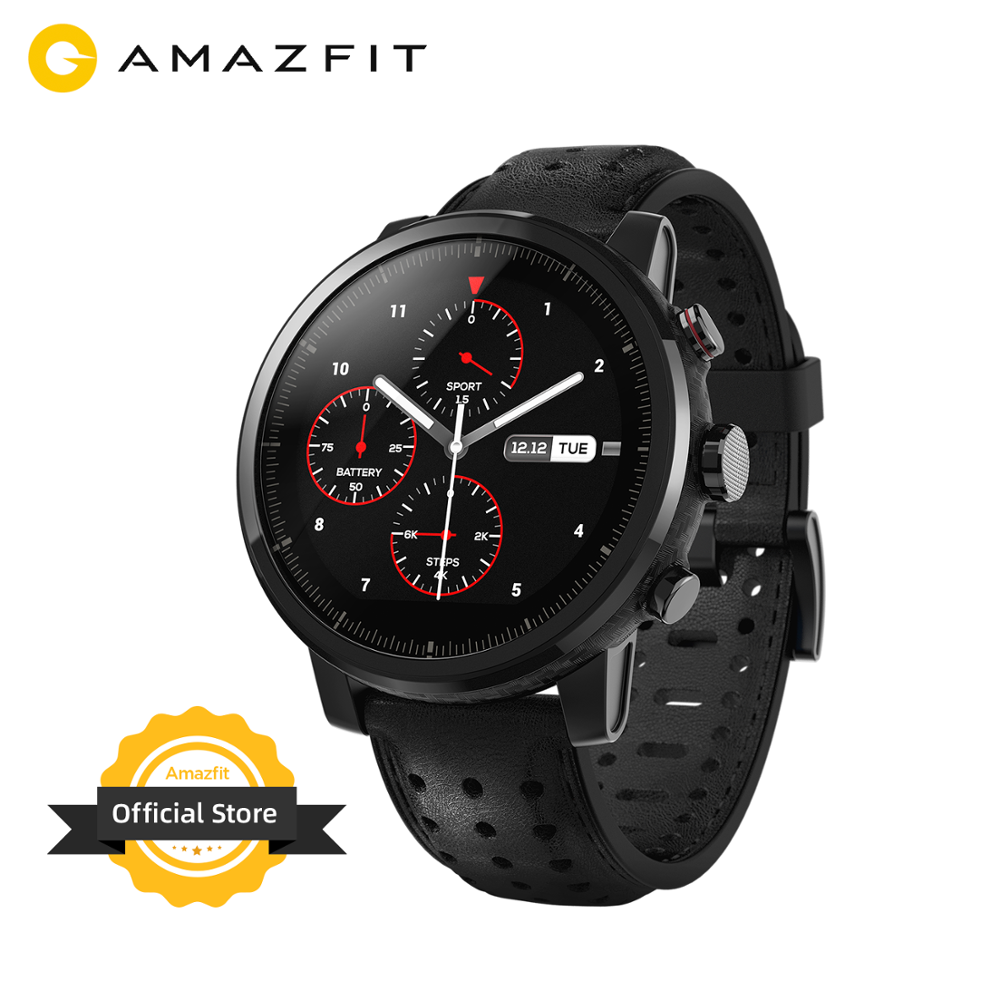 New Amazfit Stratos+ Flagship Smart Watch Genuine Leather Strap Gift Box Sapphire Glass Flourorubber Strap for Android Phone Smart Watches    - AliExpress
