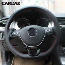 CARDAK cucito A mano Nero Artificiale Volante In Pelle Copertura Della Ruota di Copertura per Volkswagen Golf 7 Mk7 Nuovo Polo Passat B8